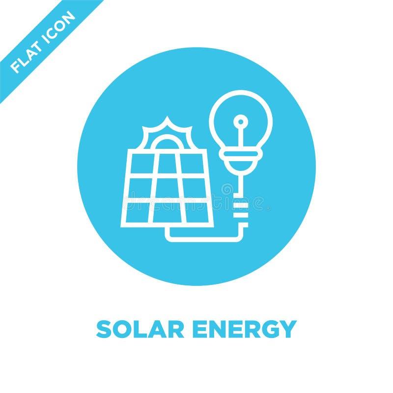 de vector van het zonne-energiepictogram van globale het verwarmen inzameling De dunne van het het overzichtspictogram van de lij royalty-vrije illustratie