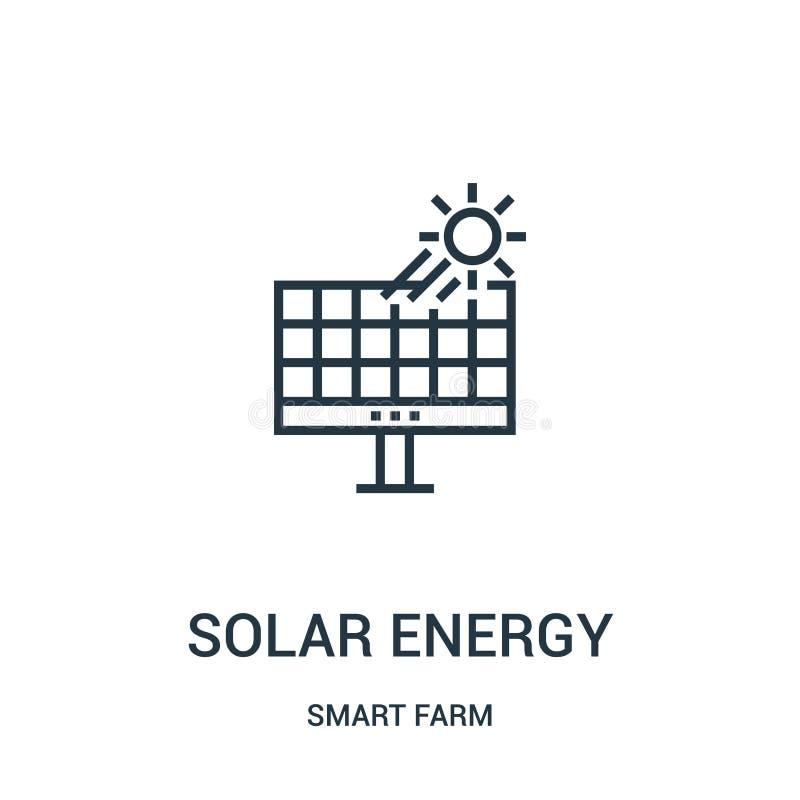 de vector van het zonne-energiepictogram van slimme landbouwbedrijfinzameling De dunne van het het overzichtspictogram van de lij royalty-vrije illustratie