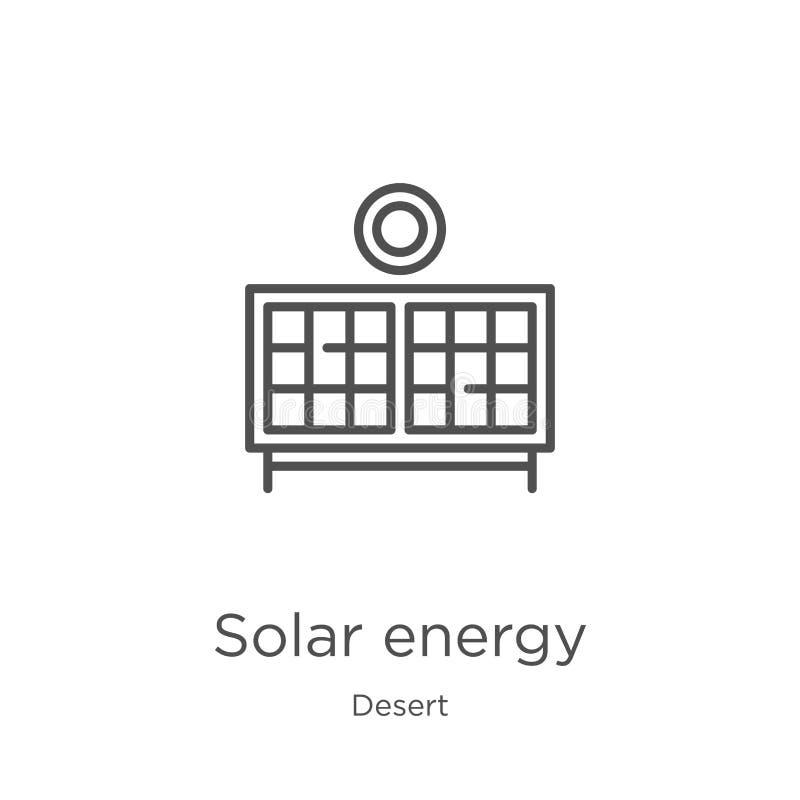 de vector van het zonne-energiepictogram van woestijninzameling De dunne van het het overzichtspictogram van de lijn zonne-energi royalty-vrije illustratie