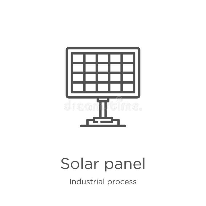 de vector van het zonnepaneelpictogram van industrieel procesinzameling De dunne van het het overzichtspictogram van het lijnzonn royalty-vrije illustratie