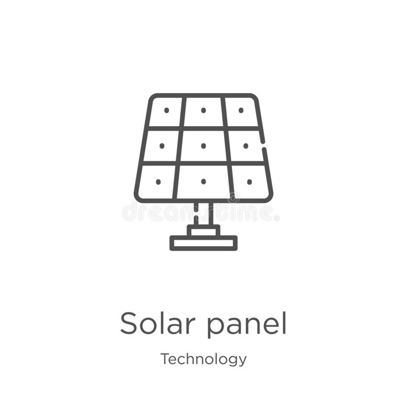 de vector van het zonnepaneelpictogram van technologieinzameling De dunne van het het overzichtspictogram van het lijnzonnepaneel royalty-vrije illustratie