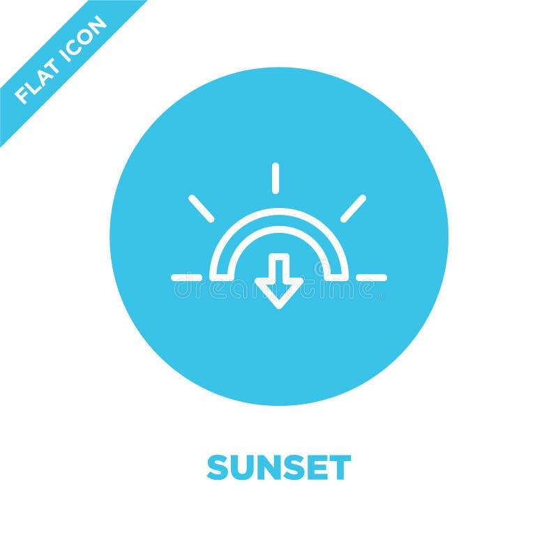 de vector van het zonsondergangpictogram van weerinzameling De dunne van het het overzichtspictogram van de lijnzonsondergang vec stock illustratie