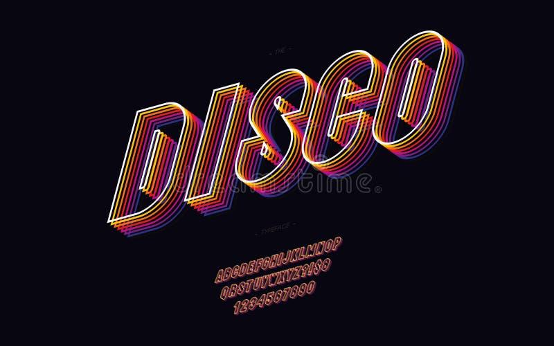 De vector van de de jaren '80stijl van de disco 3d doopvont moderne typografie stock illustratie