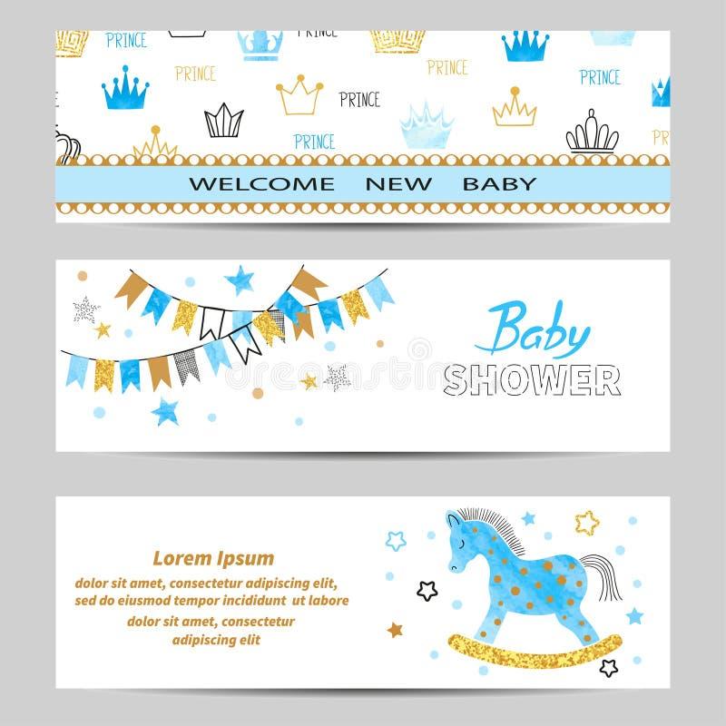 De vector van de jongensbanners van de babydouche in blauwe en gouden kleuren wordt geplaatst die stock illustratie
