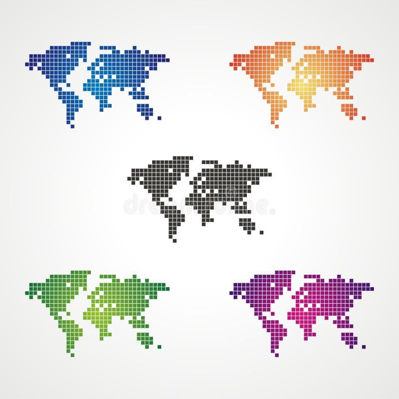 De Vector van de de Kaartvoorraad van de pixelwereld stock illustratie