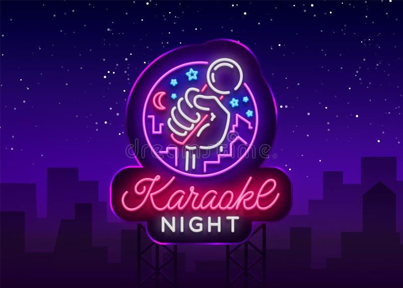 De vector van de karaokenacht Neonteken, lichtgevend embleem, symbool, lichte banner De adverterende heldere bar van de nachtkara stock illustratie