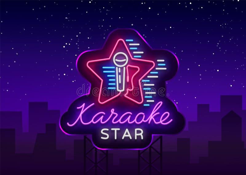 De Vector van de karaokester Neonteken, lichtgevend embleem, symbool, lichte banner De adverterende heldere bar van de nachtkarao royalty-vrije illustratie