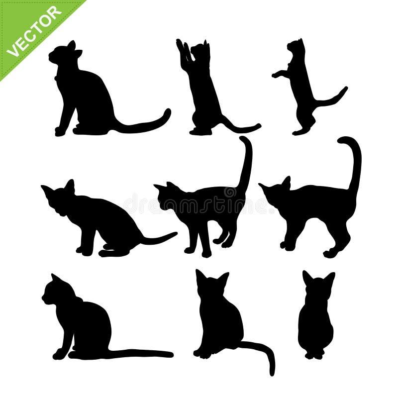 De vector van kattensilhouetten stock illustratie