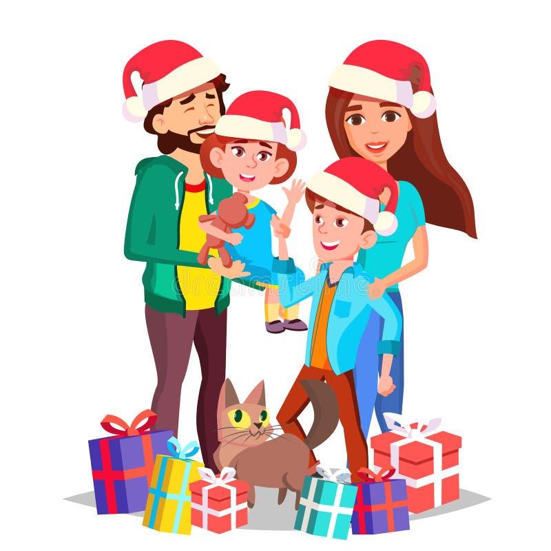 De Vector van de Kerstmisfamilie Mamma, Papa, Kinderen samen In Santa Hats Volledige familie celebrating Genomen in Genua, Italië royalty-vrije illustratie