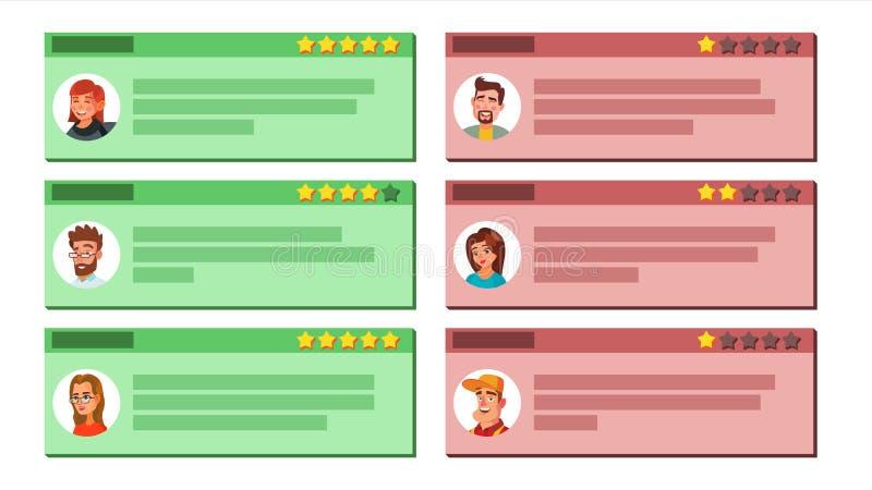 De Vector van de klantenterugkoppeling Goede en Slechte Terugkoppeling Gebruikersfoto Het Werk van de opslagkwaliteit Positief, N royalty-vrije illustratie