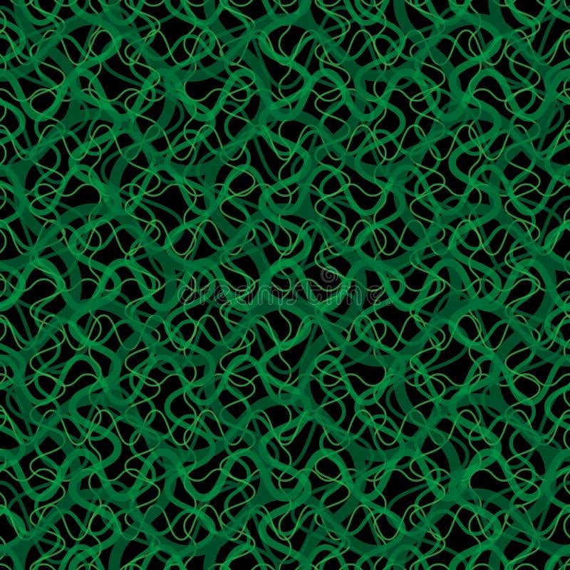 De vector van de klimopwijnstok in een naadloos behangpatroon, gebogen lijnenachtergrond royalty-vrije illustratie
