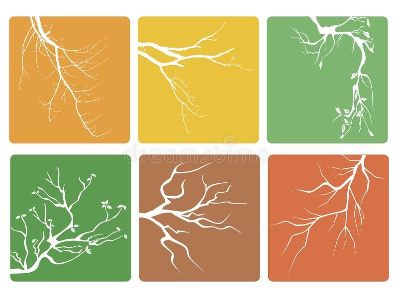 De vector van de knopenpictogrammen van de boomtak stock illustratie