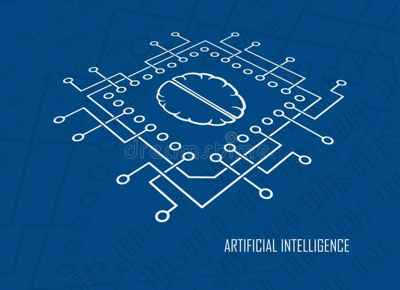 De vector van kunstmatige intelligentiecpu hersenen royalty-vrije illustratie