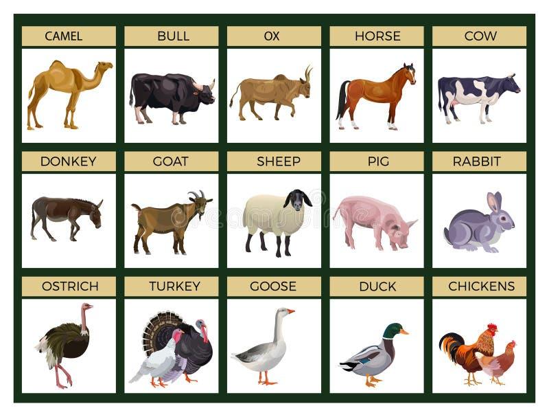 De vector van landbouwbedrijfdieren royalty-vrije illustratie