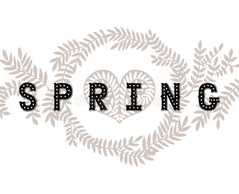 De vector van letters voorziende Lente met decoratieve bloem stock illustratie