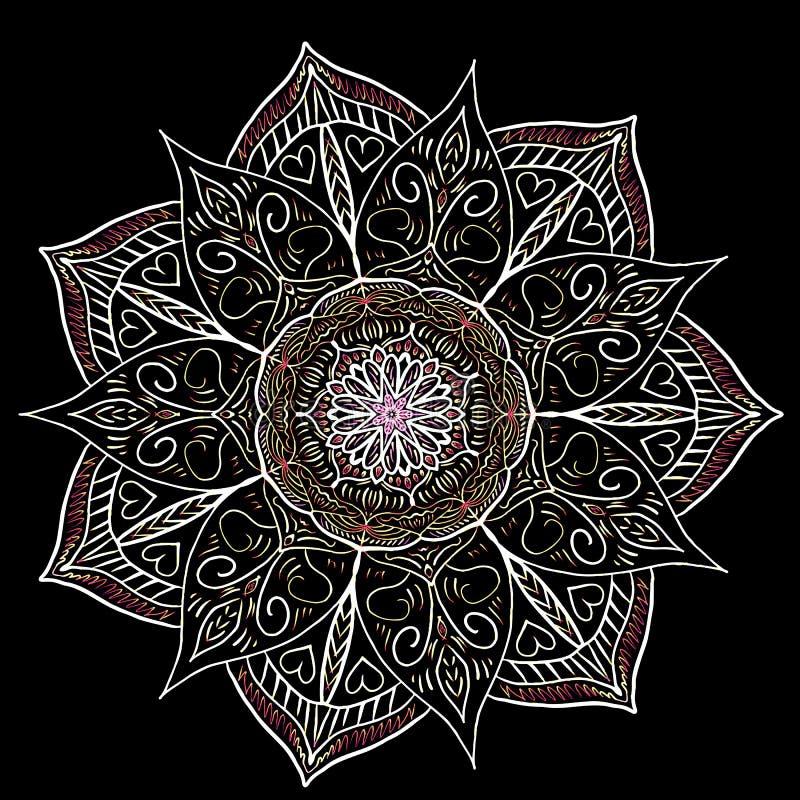 De vector van de Mandalabloem, die mooi patroon trekken stock illustratie