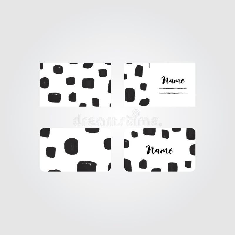 De vector van de naamkaart Financiële en BedrijfsReeks De illustratie van het krabbelpatroon in minimale beeldverhaalstijl Abstra stock illustratie