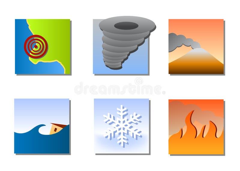De vector van natuurrampenpictogrammen stock illustratie
