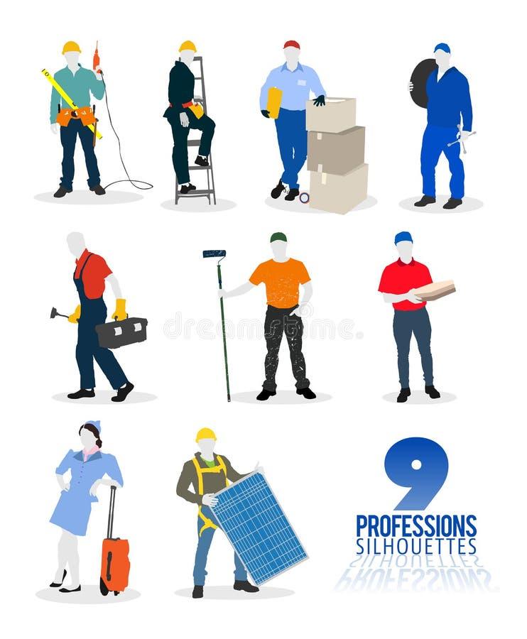 De vector van negen beroepensilhouetten vector illustratie