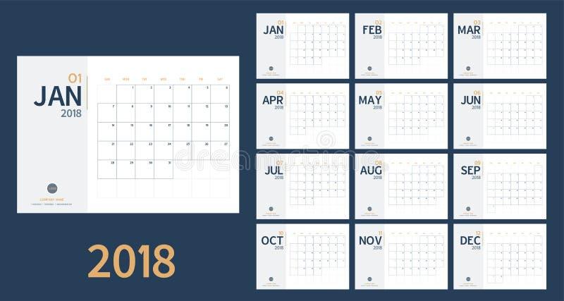 De vector van nieuwe het jaarkalender van 2018 in schone minimale lijst eenvoudige stijl en blauwe en gele kleur, de ontwerper va stock illustratie