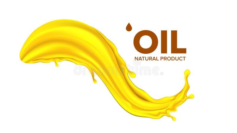 De Vector van de olieplons Vloeibare Daling Gouden Druppeltje Olijf, Stroom Brandstofgolf Gas, Collageen 3D Realistische Geïsolee vector illustratie