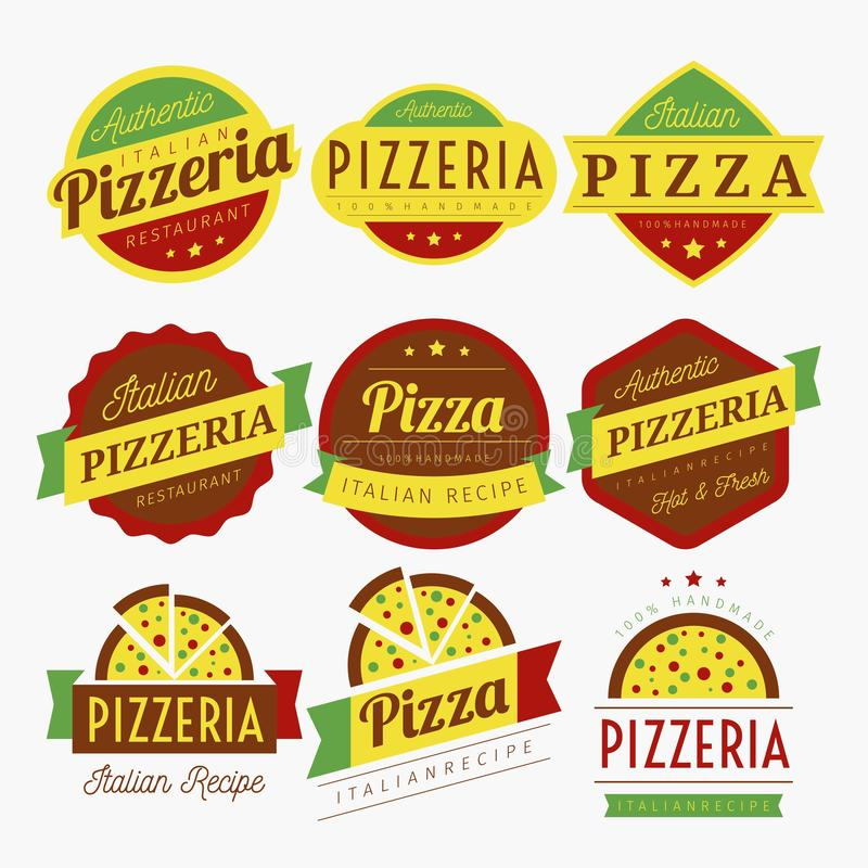 DE VECTOR VAN PIZZAetiketten vector illustratie
