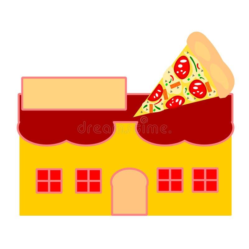 De Vector van Pizzarestaurant heeft een leeg teken voor vulling het naam en pizzaembleem op het dak stock foto