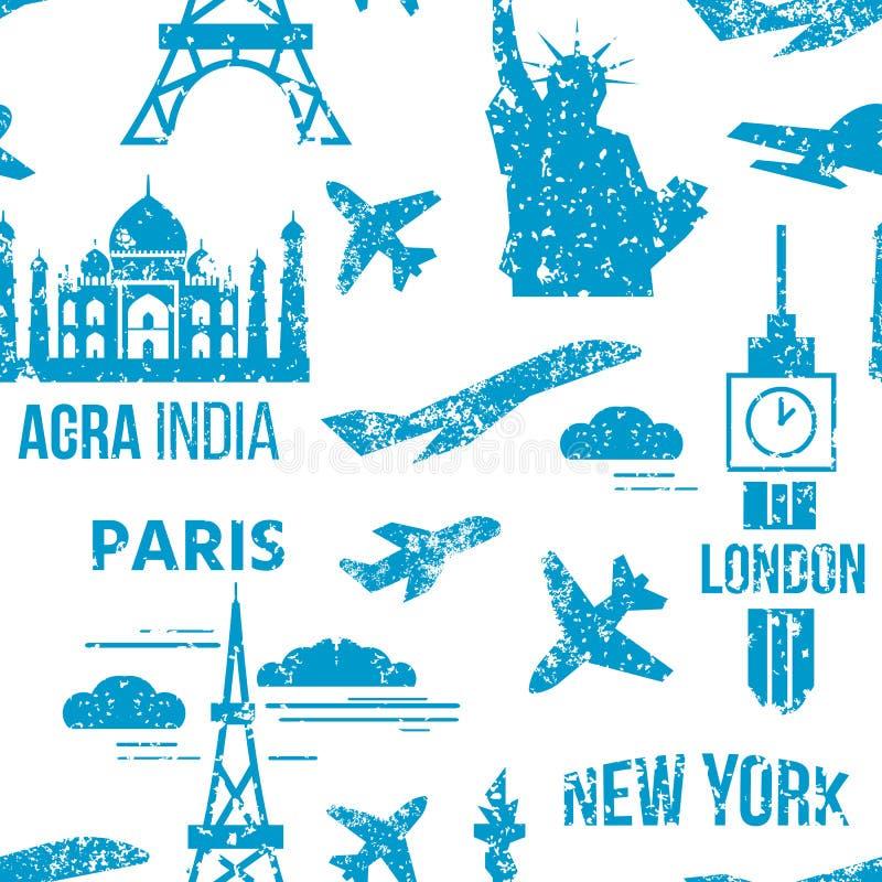 De vector van de portlanden van kaartzegels uitstekende van de de wereldzegel verschillende post grunge stempelt naadloze overal  vector illustratie