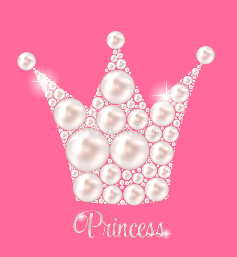 De Vector van prinsescrown pearl background stock illustratie