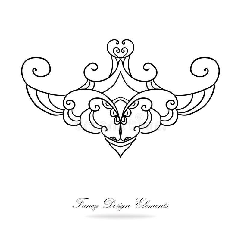 De vector van PrintDesignelementen Het zwart-witte victorian ontwerp met scrollwork krult lijnen en wervelingen, luim clipart, ha royalty-vrije illustratie