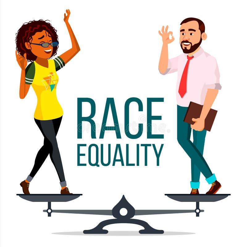 De Vector van de rasgelijkheid Op Schalen Verschillende de mensen rennen en villen Kleuren Gelijke Rechten Geïsoleerde vlakke bee vector illustratie