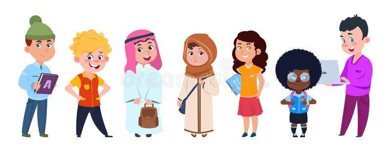 De vector van schooljonge geitjes Het internationale karakter van het studentenbeeldverhaal dat op witte achtergrond wordt geïsol stock illustratie