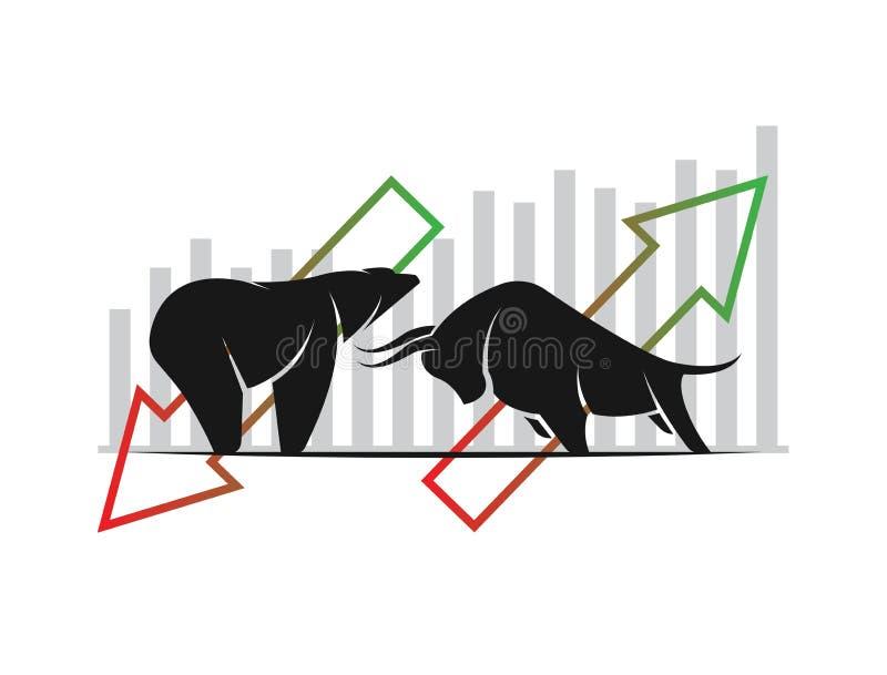 De vector van stier en draagt symbolen van voorraadmarkttendensen royalty-vrije illustratie