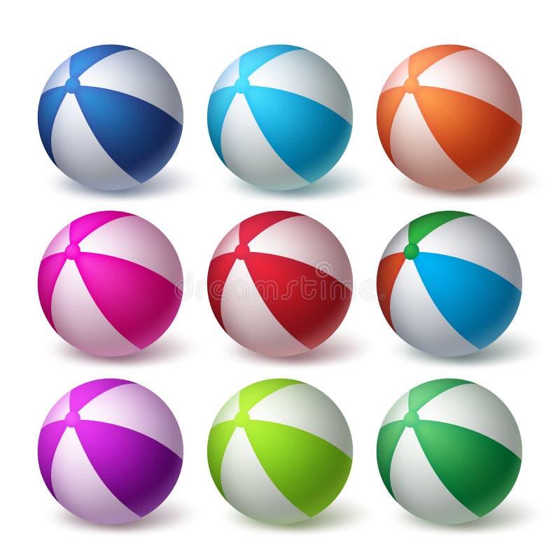 De Vector van strandballen die in Kleurrijk 3D Realistisch Rubber wordt geplaatst stock illustratie