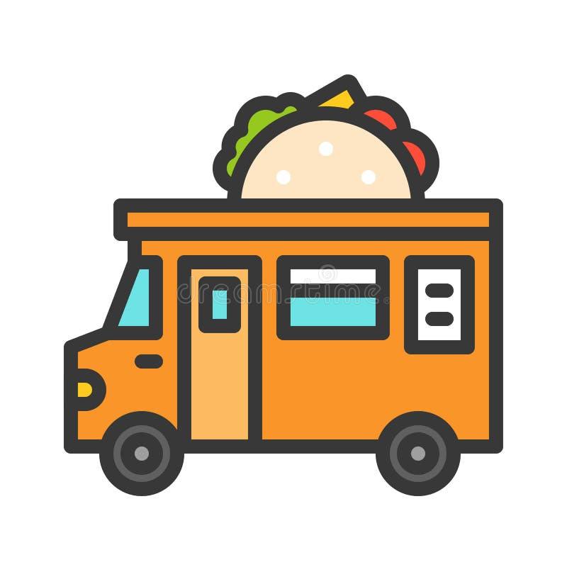 De vector van de tacovrachtwagen, editable de slagpictogram van de Voedselvrachtwagen gevuld stijl royalty-vrije illustratie