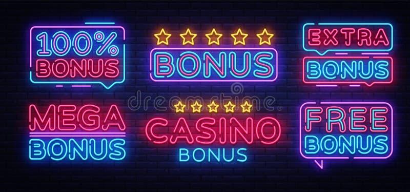 De Vector van de de Tekstinzameling van het bonusneon Het neonteken van het bonuscasino, ontwerpmalplaatje, modern tendensontwerp vector illustratie