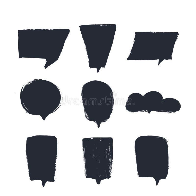 De vector van toespraakbellen plaatste voor citaatmalplaatjes met plaats voor van het de inktontwerp van tekstgrunge de zwarte ac stock illustratie