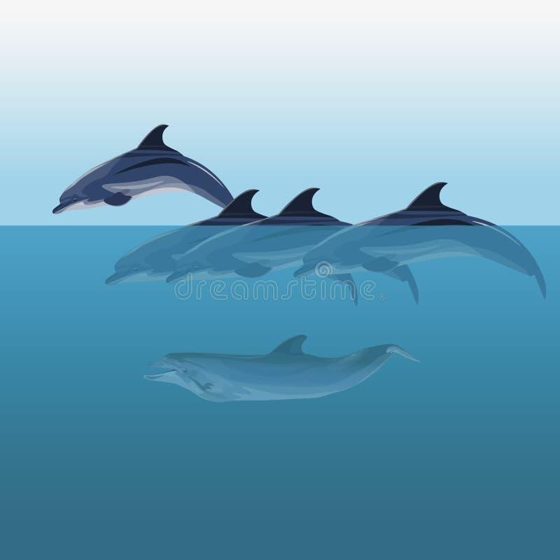 De vector van troepdolfijnen royalty-vrije illustratie