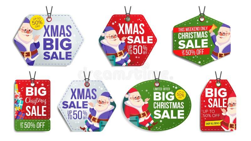 De Vector van de Verkoopmarkeringen van het Kerstmisthema Vlakke sneeuwvlokken Document Hangende Stickers De Kerstman _2 De Hange vector illustratie