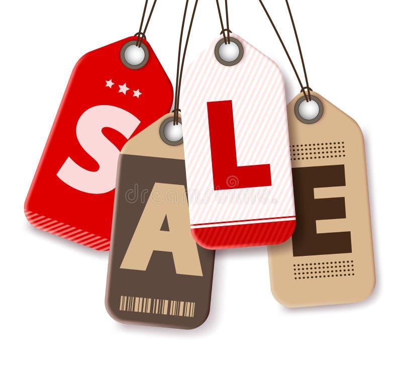 De Vector van verkoopmarkeringen op Witte Achtergrond voor het Winkelen Bevorderingen royalty-vrije illustratie