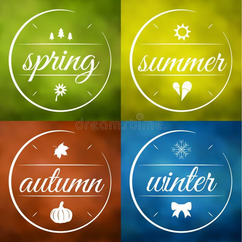 De vector van vier seizoenenetiketten vector illustratie