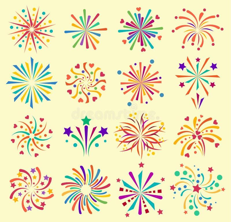 De vector van de de vieringsvakantie van vuurwerkpictogrammen van de de gebeurtenisnacht van de het jaarbrand nieuwe illustratie  vector illustratie