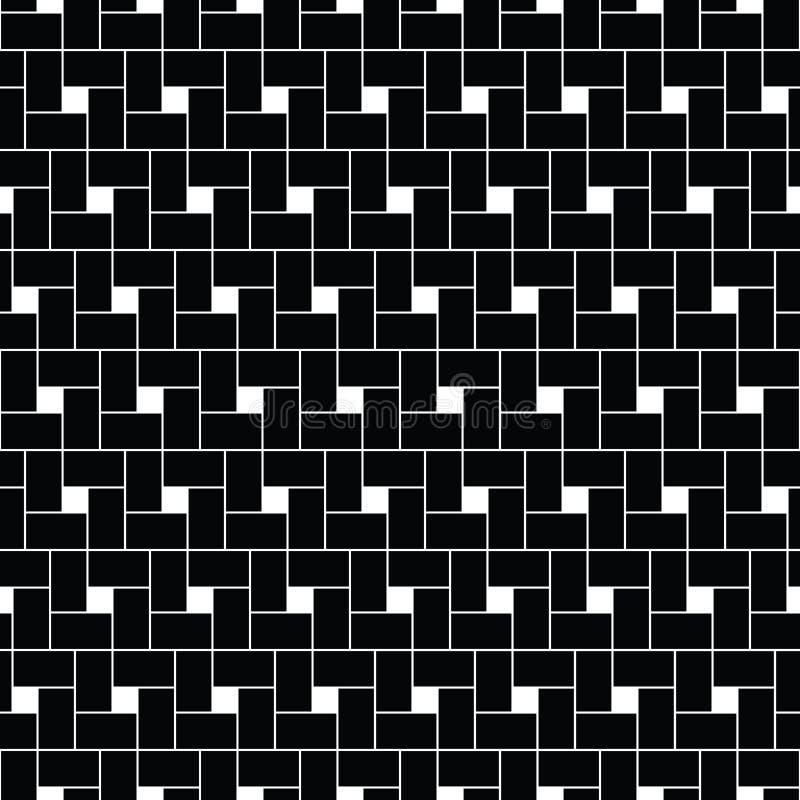 De vector van vierkantentessellation Het herhaalde wit controleert opeenvolging op zwarte achtergrond Het ontwerp van het oppervl stock illustratie