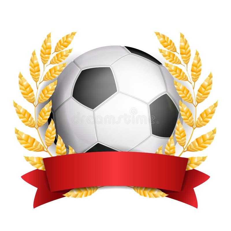 De Vector van de voetbaltoekenning De achtergrond van de sportbanner Bal, Rood Lint stock illustratie