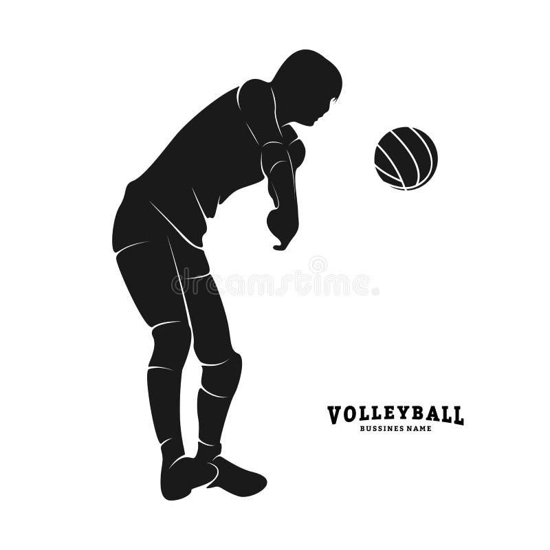 De Vector van de volleyballspeler Silhouet van volleyballspeler Vector illustratie stock illustratie