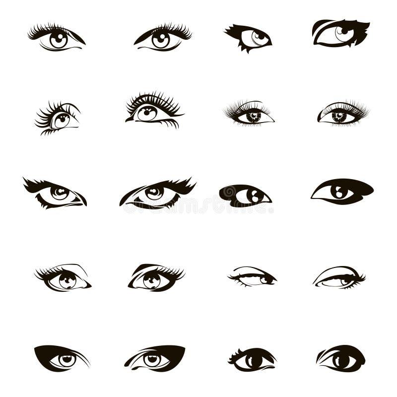 De vector van vrouwenogen Mooie vrouwelijke oogreeks of inkttekening royalty-vrije illustratie