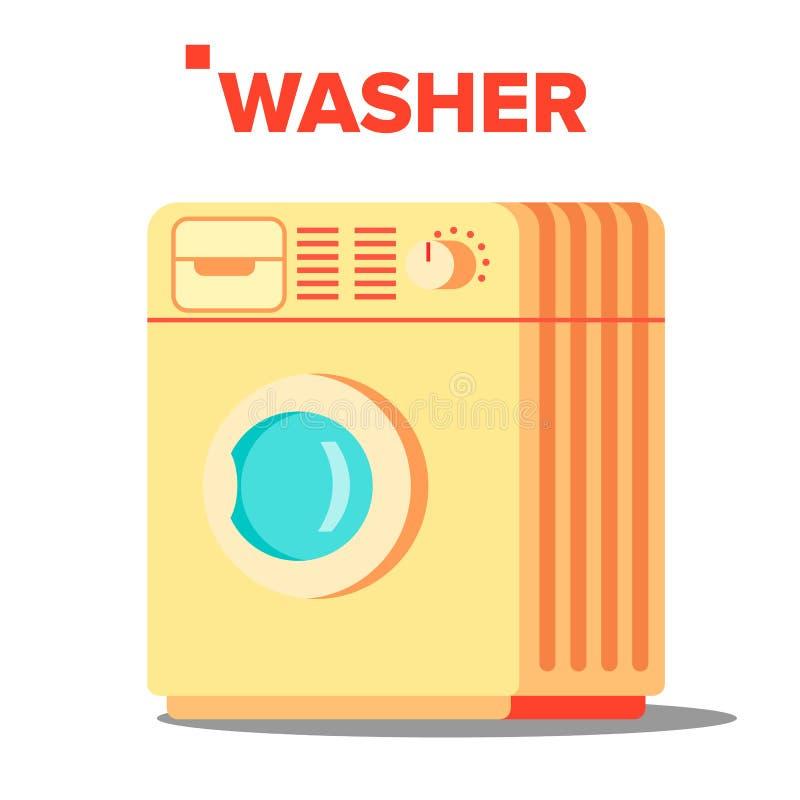 De Vector van wasmachinemashine Klassieke Autonomus-Huiswas Mashine Geïsoleerde vlakke beeldverhaalillustratie royalty-vrije illustratie