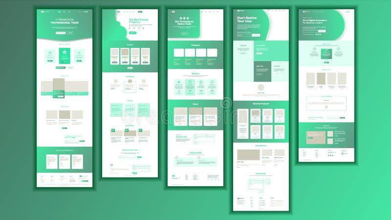 De Vector van de websitepagina Bedrijfswebsite Web-pagina Landend de Regelingsmalplaatje van de Ontwerpplaats Producthuldeblijk b royalty-vrije illustratie