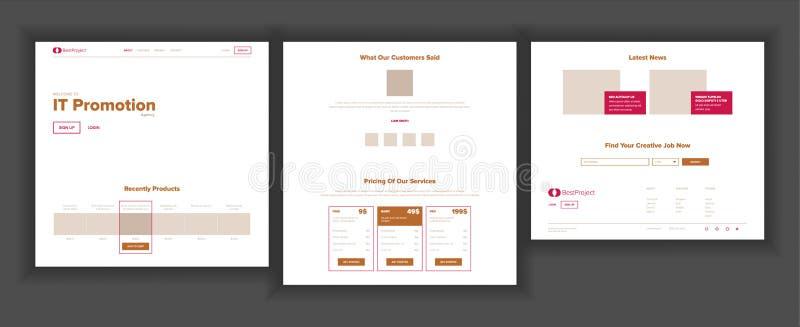 De Vector van de websitepagina Commercieel Agentschap Web-pagina Landend Ontwerpmalplaatje De aansluting van het netwerk Bedrijfs vector illustratie