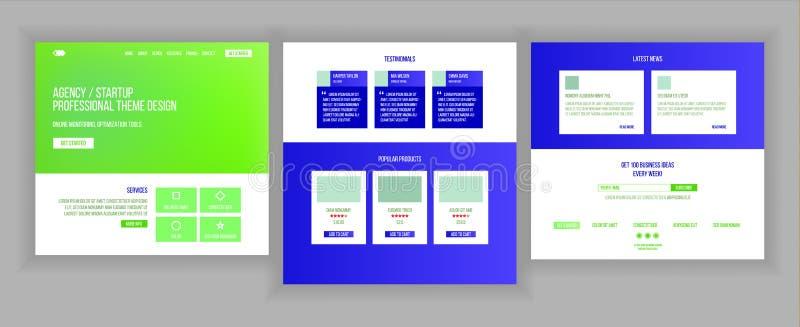 De Vector van de websitepagina Commercieel Agentschap Web-pagina Ontwerp Front End Site Scheme Landend Malplaatje Beschermingsont royalty-vrije illustratie